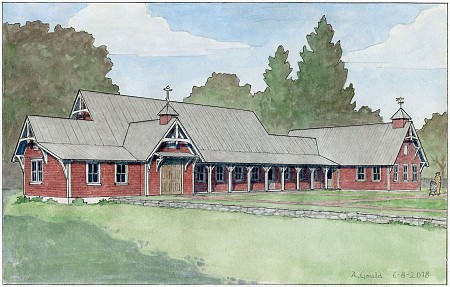 Architect's Watercolor of New Parish Hall - click to see more...